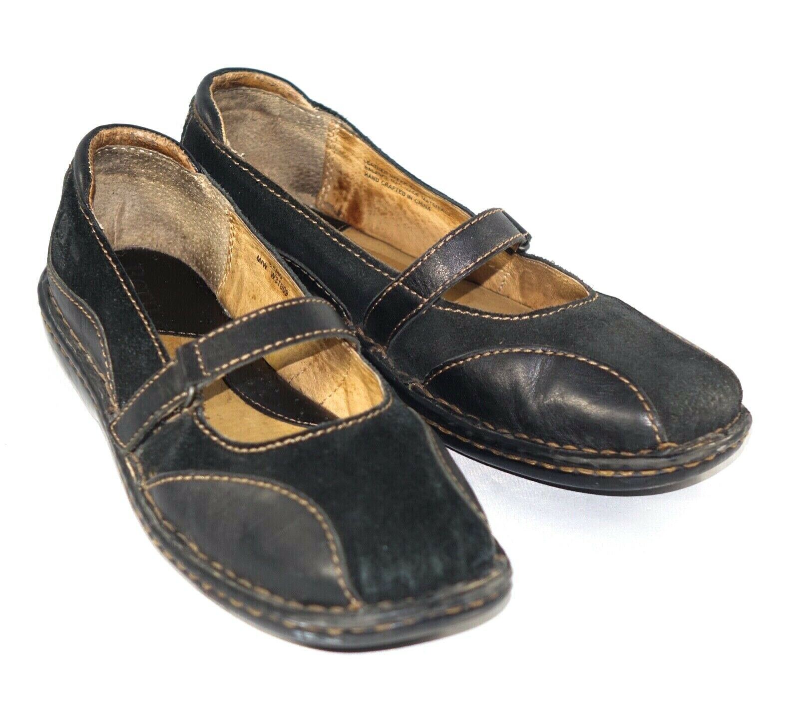 Born Women's Size 8.5 Black Hand Crafted Shoes Leather Mary Janes Comfort
