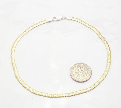 """10/"""" Reversible Herringbone Snake Anklet Ankle Bracelet 14K Yellow Gold Silver"""