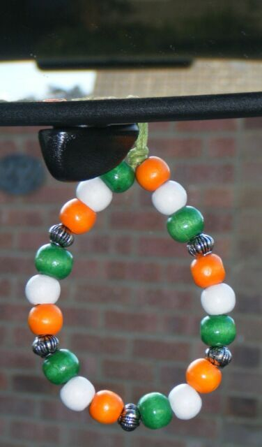 In Car Hanging India Indian Country Flag Coloured Wood Wooden Beads