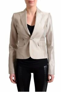 Dsquared2 100% Silk Gray One Button Women's Blazer Us S It 40 Delicacies Loved By All