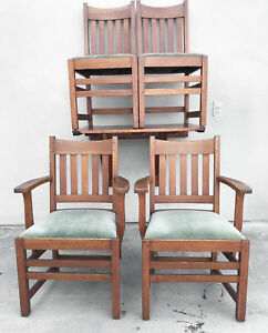 Image Is Loading Limbert Signed Mission Oak Dining Chairs Arts Amp