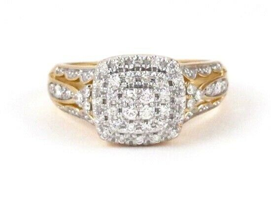 10k Yellow gold Round Diamond Cluster Right Hand Ring .98ct