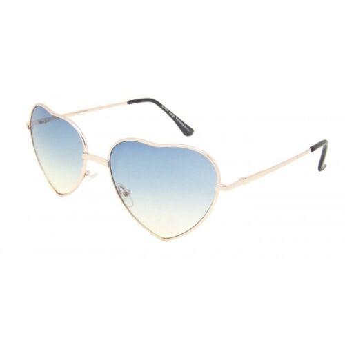 süß herzförmig Sonnenbrille Ombré Linse Metallrahmen blau Lolita