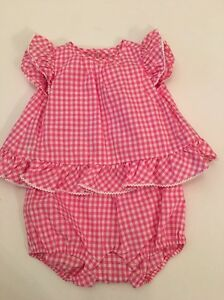 3f787a33966e Polo Ralph Lauren Baby Girl Pink White Gingham Outfit Size 6 months ...