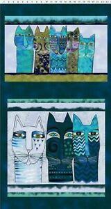 Pre-cut-Cotton-Fabric-Panel-Laurel-Burch-Feline-Frolic-Y2794-105M-w-Silver-Met