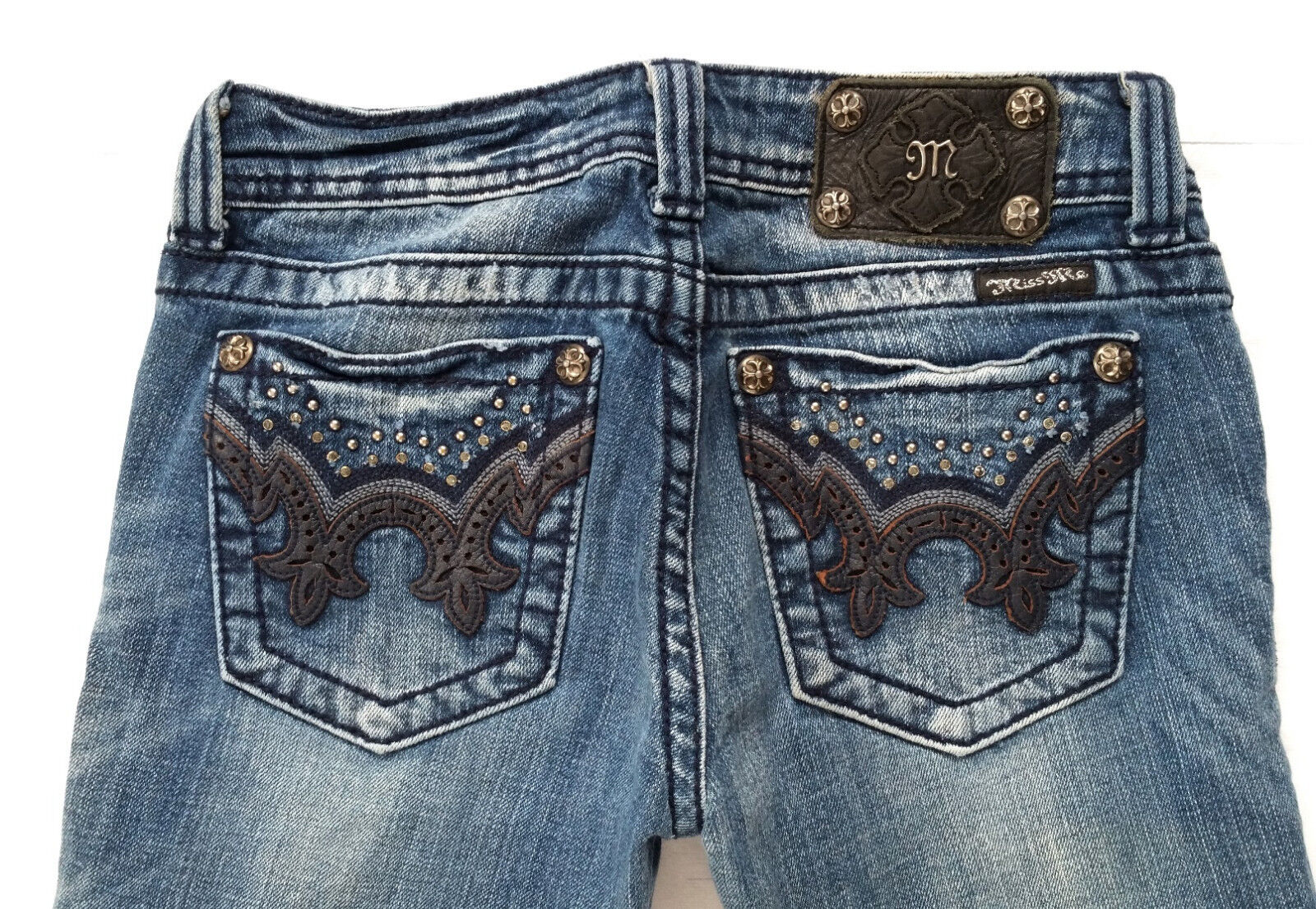 Miss Me Crystal Embellished Bootcut Denim Jeans 26 in x 34 Style JW5307B5
