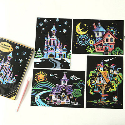 10x Colorful Magic Scratch Drawing Art Painting Paper Kids Educational Stick Toy