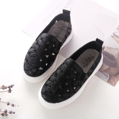 Kids Girls Fashion Hollow Out Flowers Slip On Loafers Casual Walking Shoes