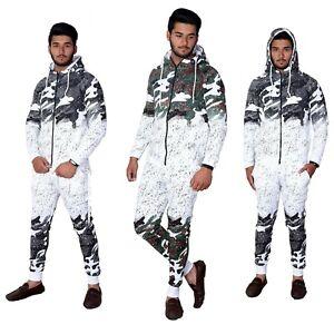 Men-Splatter-Print-Camouflage-Casual-Designer-Hooded-Zip-Up-Joggers-Tracksuit