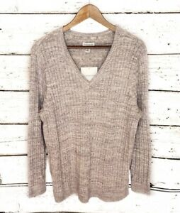 NWT-Croft-amp-Barrow-Gray-Ribbed-Sweater-V-Neck-Women-s-Plus-Size-1X-Retail-40