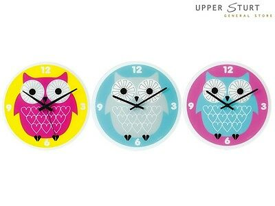 Wall Clock 30cm Owl.Colour Choice Pink Grey or Blue. FAST 'N FREE DELIVERY
