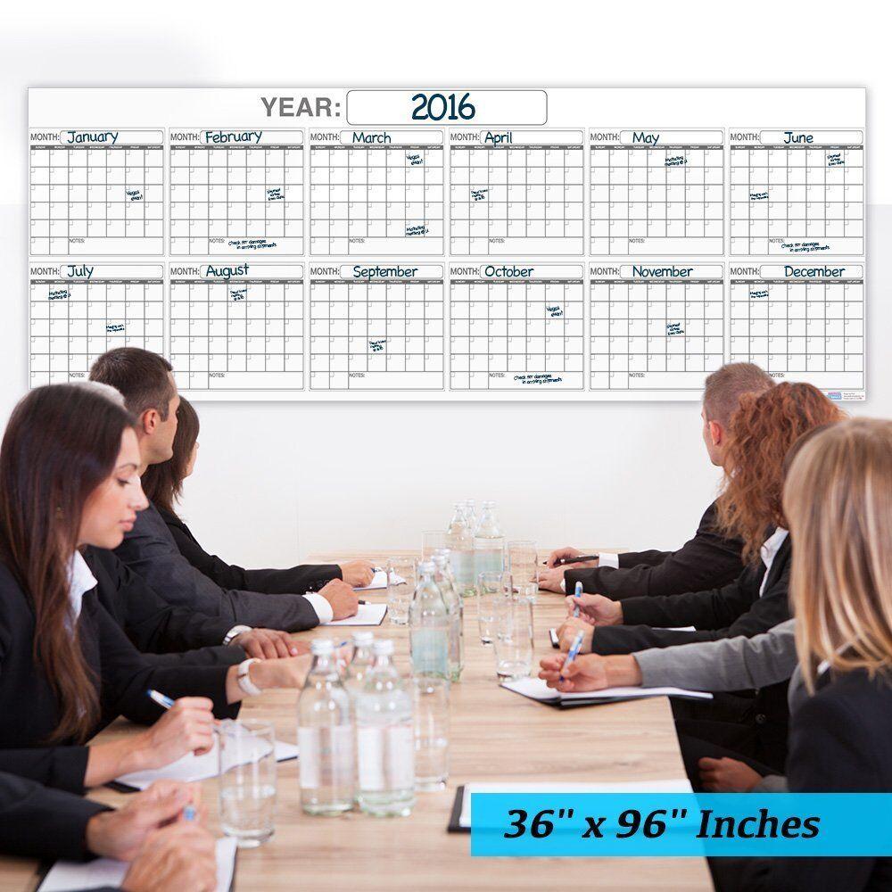 Jumbo Wet or Dry Erase Plan Wall Calendar Laminated 12 Month Planner 36x96