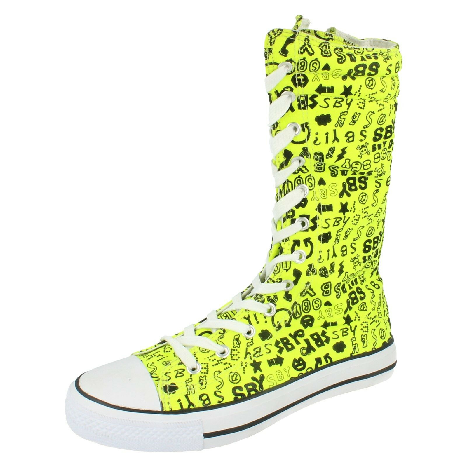 Ladies Spot on Lime canvas mid calf boots    F4230