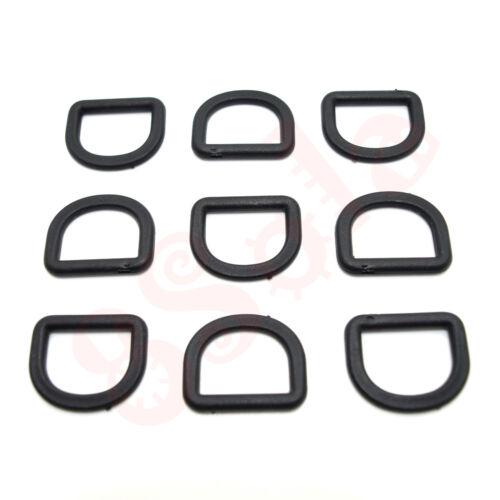 Black Delrim Plastic 3 Bar Sliders Dog Snap Hooks Clips D Rings 20//25//30//40//50mm