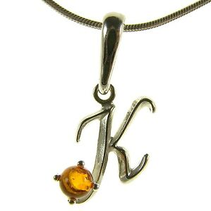 BALTIC-AMBER-STERLING-SILVER-925-ALPHABET-LETTER-K-PENDANT-NECKLACE-JEWELLERY