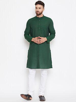 Casual Traditional Cotton Dress Men Green Solid Straight Kurta Pajama Plain