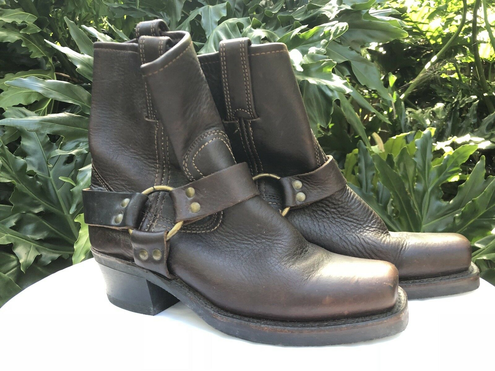 Brand New Frye Womens Brown Leather Motorcycle Ankle Boots without box Size 6.5