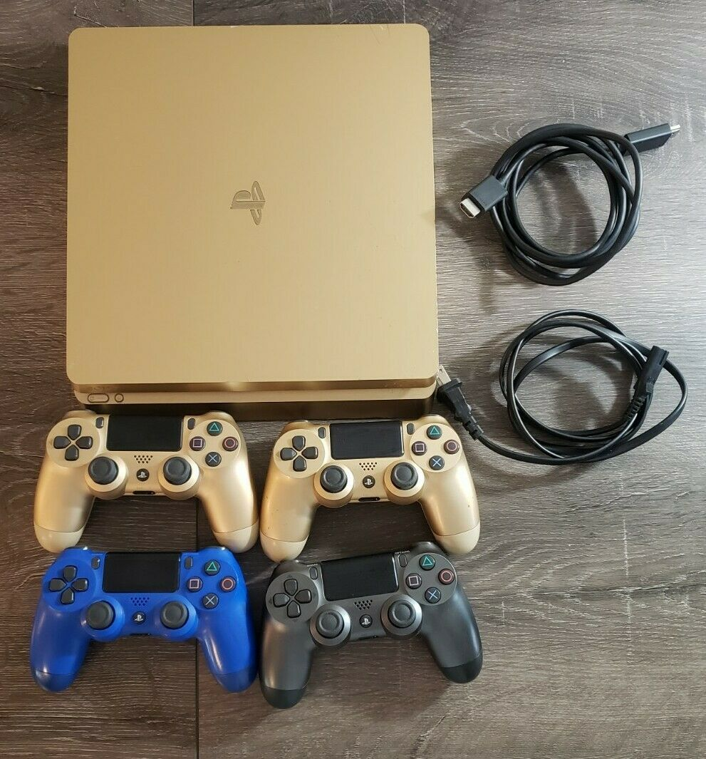 Sony Playstation 4 Gold 1TB Slim Console - 4 Controllers - 8 Games - Used