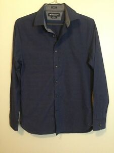 American-Eagle-Men-039-s-Size-Small-Slim-Fit-Navy-Stripe-Button-Down-Long-Sleeve