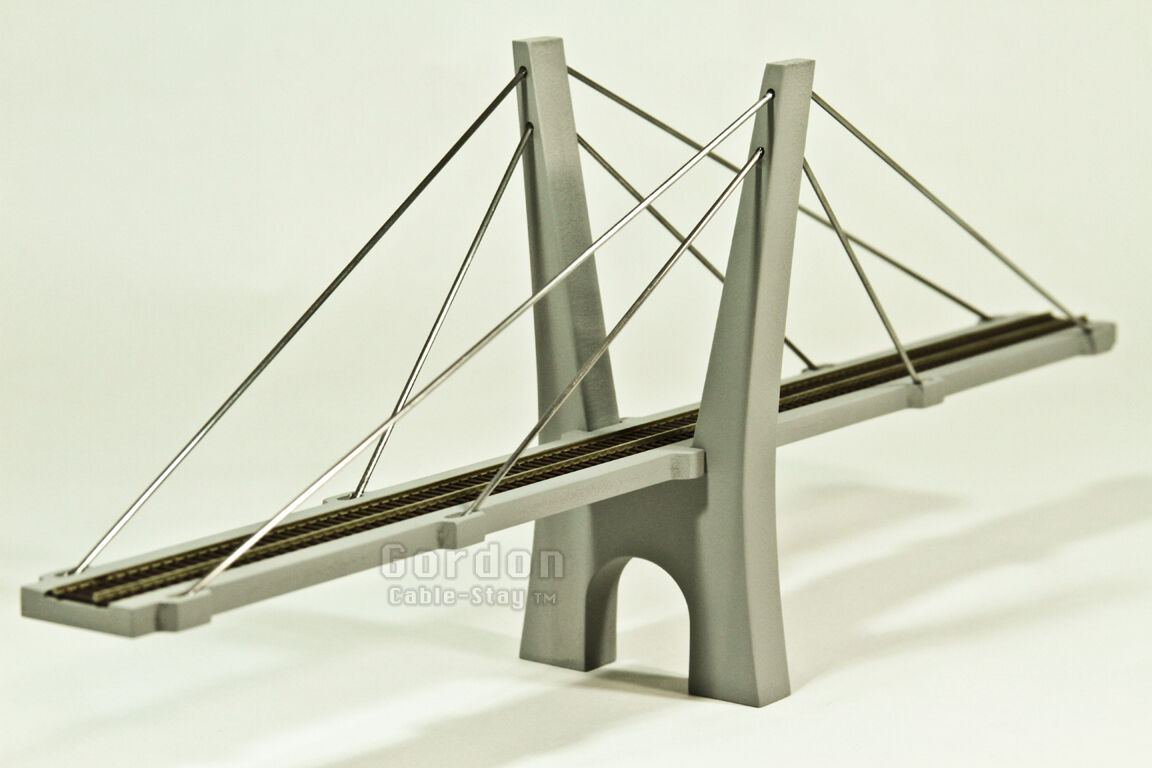 Ultimo 2018 N Scale 15  (200') Cable-Stayed Suspension Bridge, Fully Assembled, Assembled, Assembled, Cement grigio  marche online vendita a basso costo