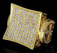 14k Gold Tone Luxury Kite Design Simulated Diamond Rapper Bling HipHop Mens Ring