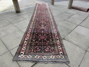 Vintage-Traditional-Hand-Made-Oriental-Wool-Blue-17-Foot-Long-Runner-520x100cm