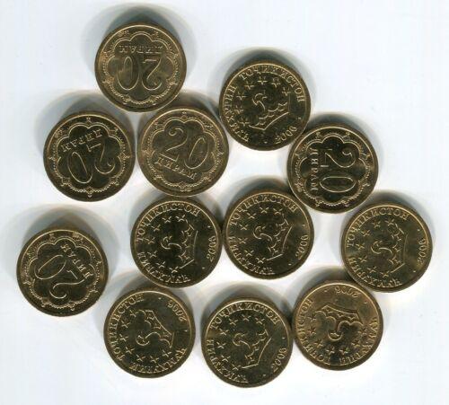20 diram lot 12 pieces  UNC Tajikistan 2006