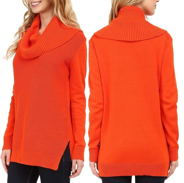 Michael Kors Orange Womens Size Xs Ribbed Tunic Cowl Neck Sweater