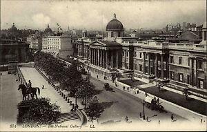 London-England-AK-1910-The-National-Gallery-Kunstmuseum-Trafalgar-Square-Museum