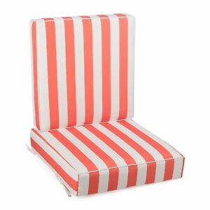 Details About C Cabana Stripe Outdoor Patio Chair Deep Seat Cushion Set Hinged Back