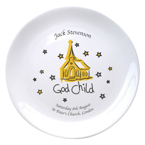 PERSONALISED CHRISTENING PLATE Gifts For Boys Girls my Godson Goddaughter Ideas