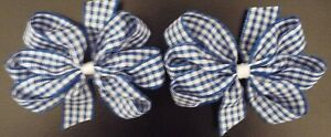 "2 BURGUNDY AND WHITE GINGHAM 3/"" INCH RIBBON HAIR BOWS ALLIGATOR CLIP SET NEW"