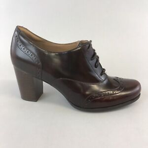 Clarks-Artisan-Burgundy-Patent-Leather-Ankle-Stacked-Heels-Lace-Up-Boots-UK8-D