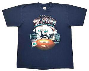 Vintage-Miami-Dolphins-Football-Helmets-Tee-Navy-Size-XL-Mens-T-Shirt-NFL