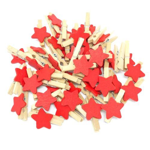 Mini 30 mm bois Pinces à linge avec 15 mm Red Star Craft shabbychic Embellissement