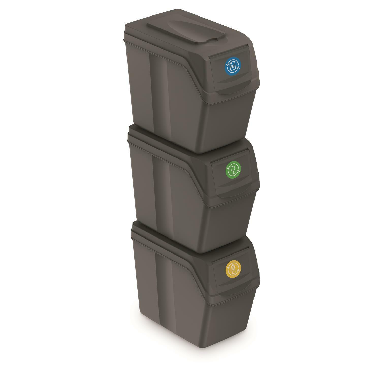 Cubos de Basura Segregación 3x20l Tapas de Colores Pegatinas Sistema Reciclaje