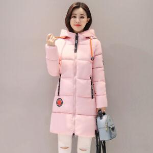 pretty nice 526c4 7d6e1 Dettagli su Giacca donna piumino cappuccio cappotto comodo caldo lungo rosa  cipria 1278