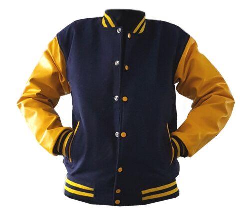 gialla pelle originale con scuro Giacca college in Xxl windhound vera maniche blu vqFUc1Ww