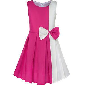Girls-Dress-Color-Block-Contrast-Bow-Tie-Everday-Party-Age-4-14-Years