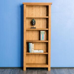 Surrey Oak Slim Bookcase Solid Wood Narrow Bookcase Waxed Rustic