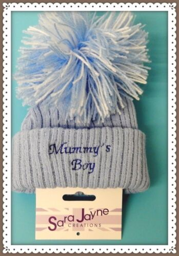 BOBBLE,EMBROIDERED NAME PERSONALIZED daddys boy POM POM BABY HAT