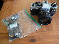 OLYMPUS OM10 35mm SRL CAMERA W/ ROKINON 28MM 1:2.8 LENS, MANUAL ADAPTER, FILM