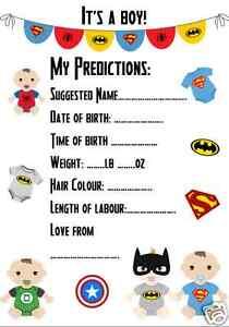 Image Is Loading Baby Shower Prediction Game Superhero Batman Superman  Spiderman