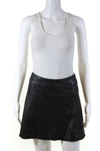 VEDA Womens Leather Circle Mini Skirt Black Size S
