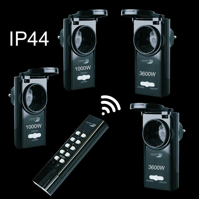 4 x radio enchufes selbstlerntechnik ip44 outdoor funk enchufe control remoto