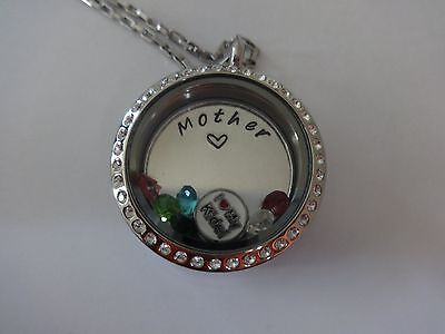 Floating living locket Necklace custom plate charms MOM Mother grandma Mawmaw