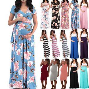 Pregnant Womens Maternity Maxi Long Dress Beach Summer Party Beach Pregnancy Ebay