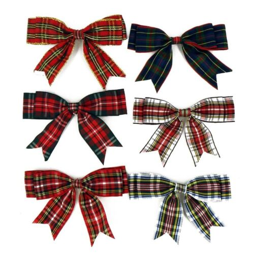 100mm TARTAN Large Double Bows Ribbon Bows With Tails 4 Beautiful 4/8/20 Large