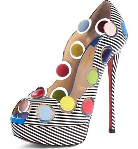 1445-Christian-Louboutin-AUTH-Lady-Bug-150-Polka-Dot-Striped-Peep-Toe-Pumps-37