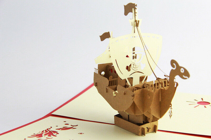 Pirate Ship Boat Sail 3 Pop Up Card Kids Birthday Fathers Day Retirement Grad